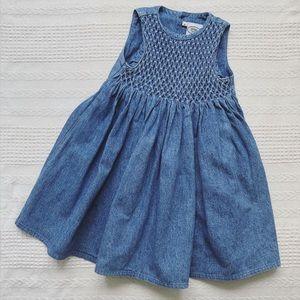 Vintage Denim Dress with Smocking